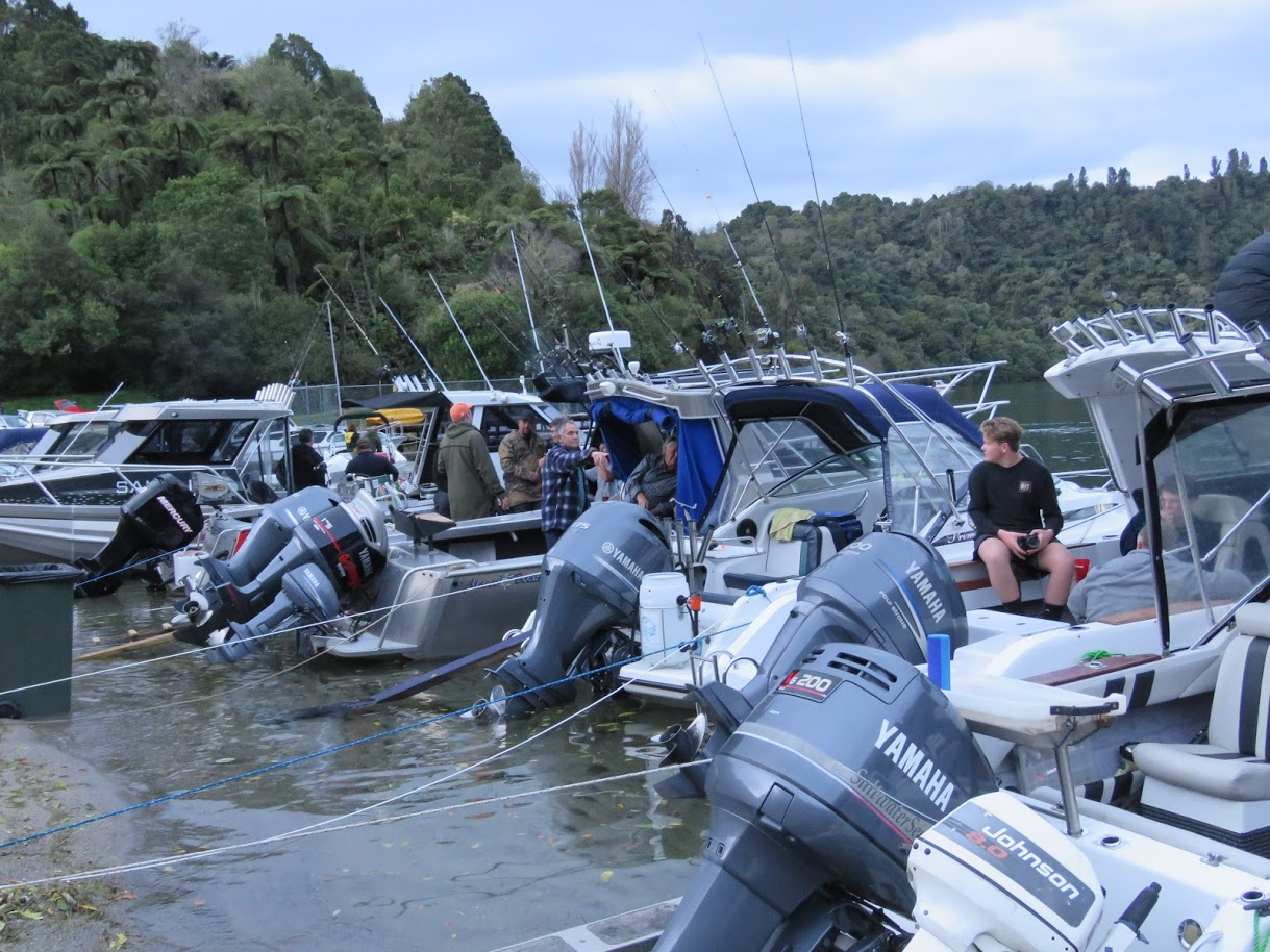 All set for opening...boaties gathered at The Landing Lake Tarawera on the evening before Opening Day.