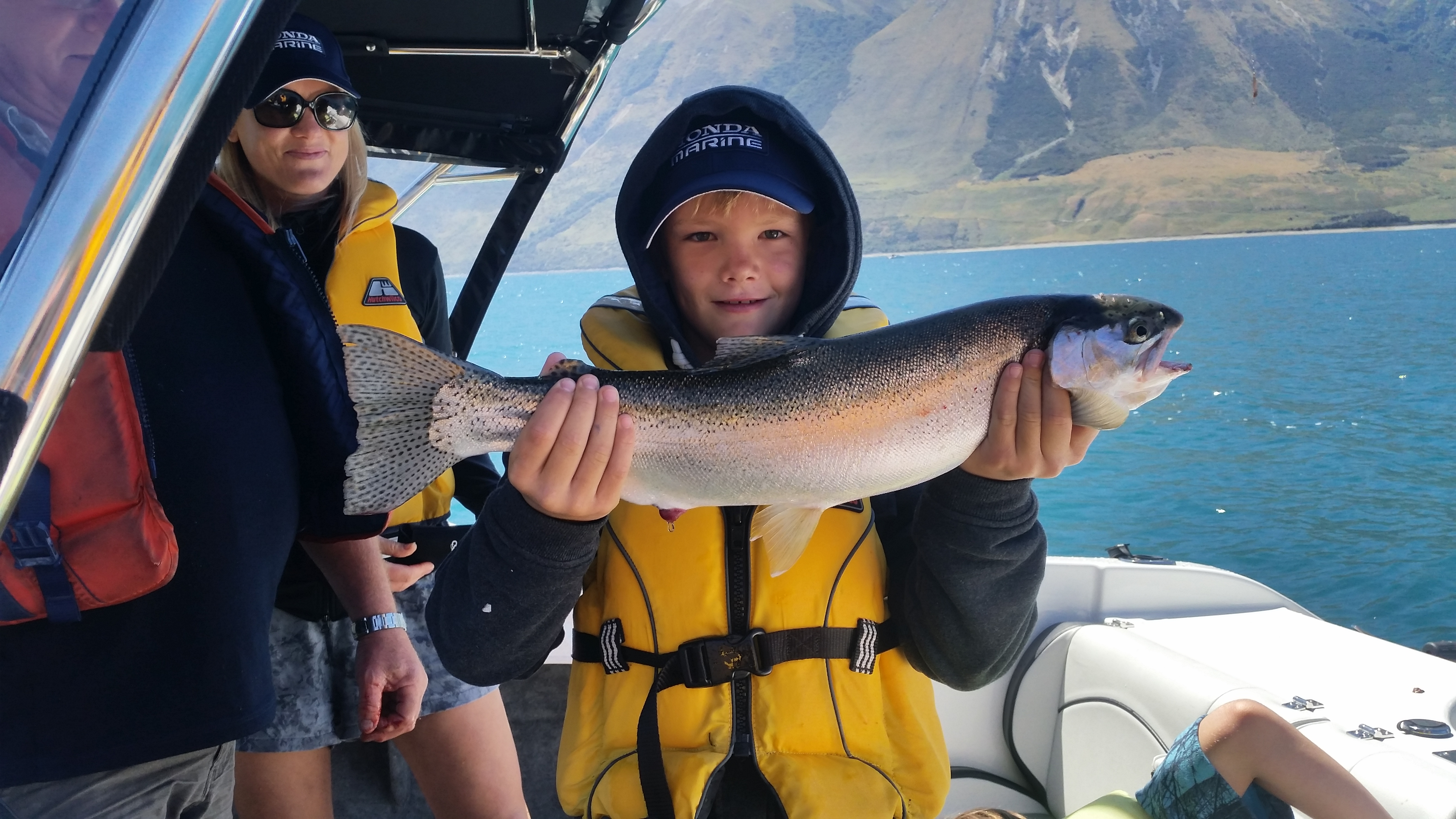 Harry Thomas Walker Leach aged 10 with 2.4kg rainbow trout 28 12 2017