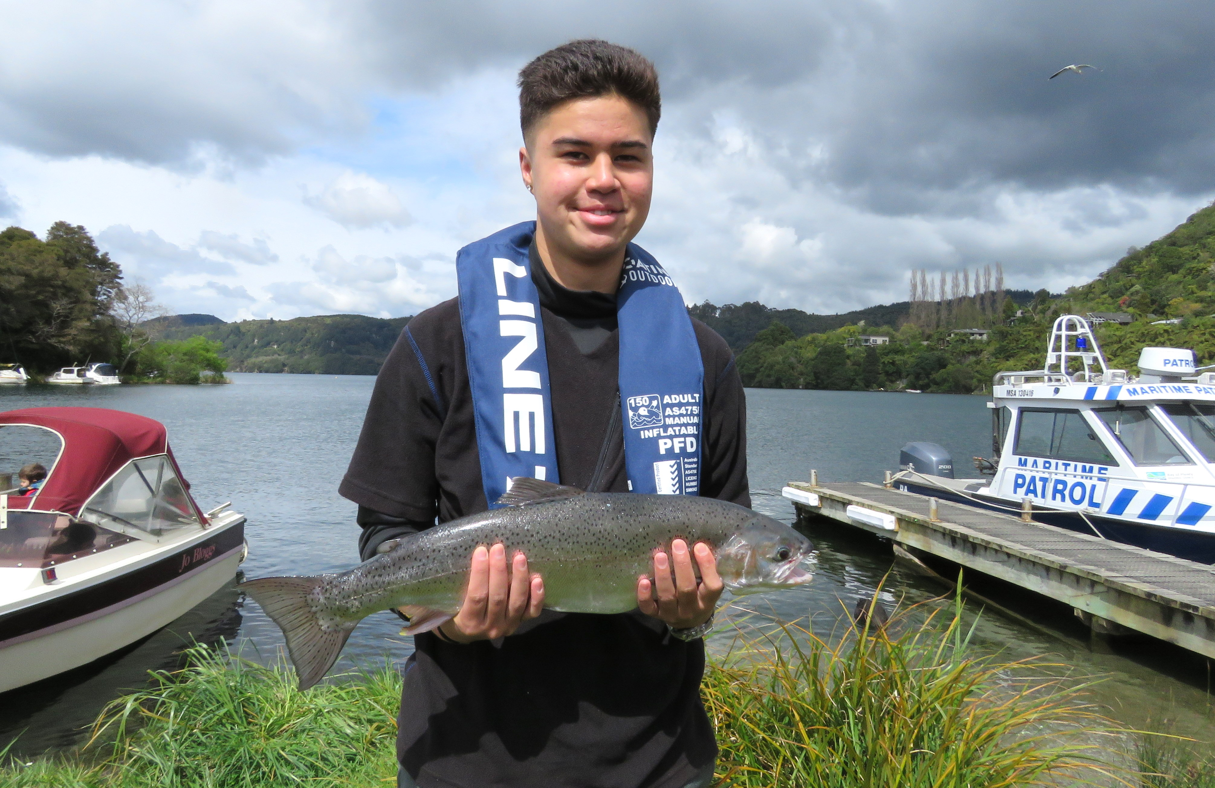 Opening Oct 2018 Pounamu Anaru from Rotorua with his catch on Opening Day at Lake Tarawera2.