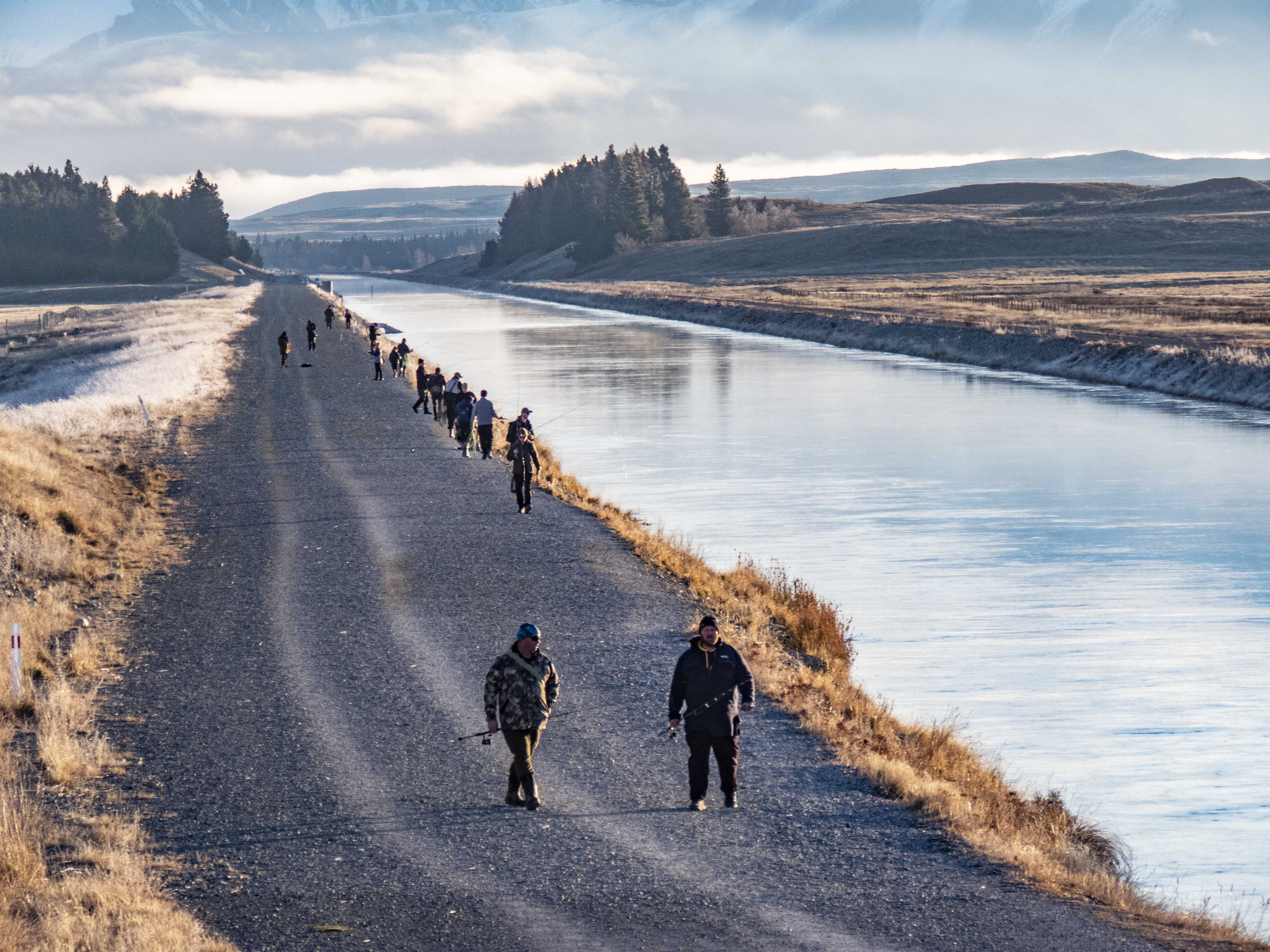 Photo 2 Anglers fish a popular stretch of the upper Tekapo Canal known as the Magic Carpet July 2020 Credit Rhys Adams