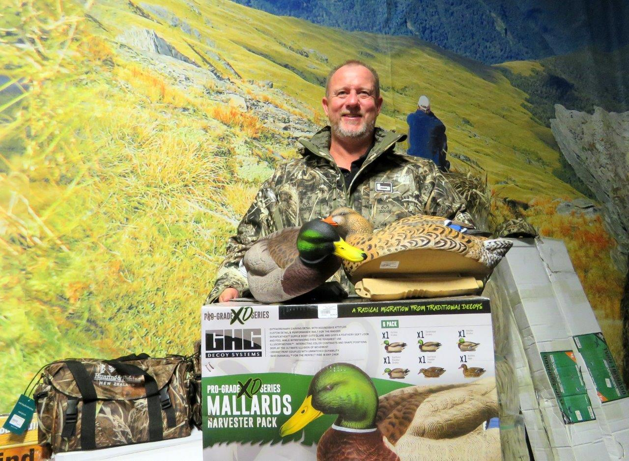 Rob Williams from Hunting and Fishing New Zealand shows off the jacket prize.