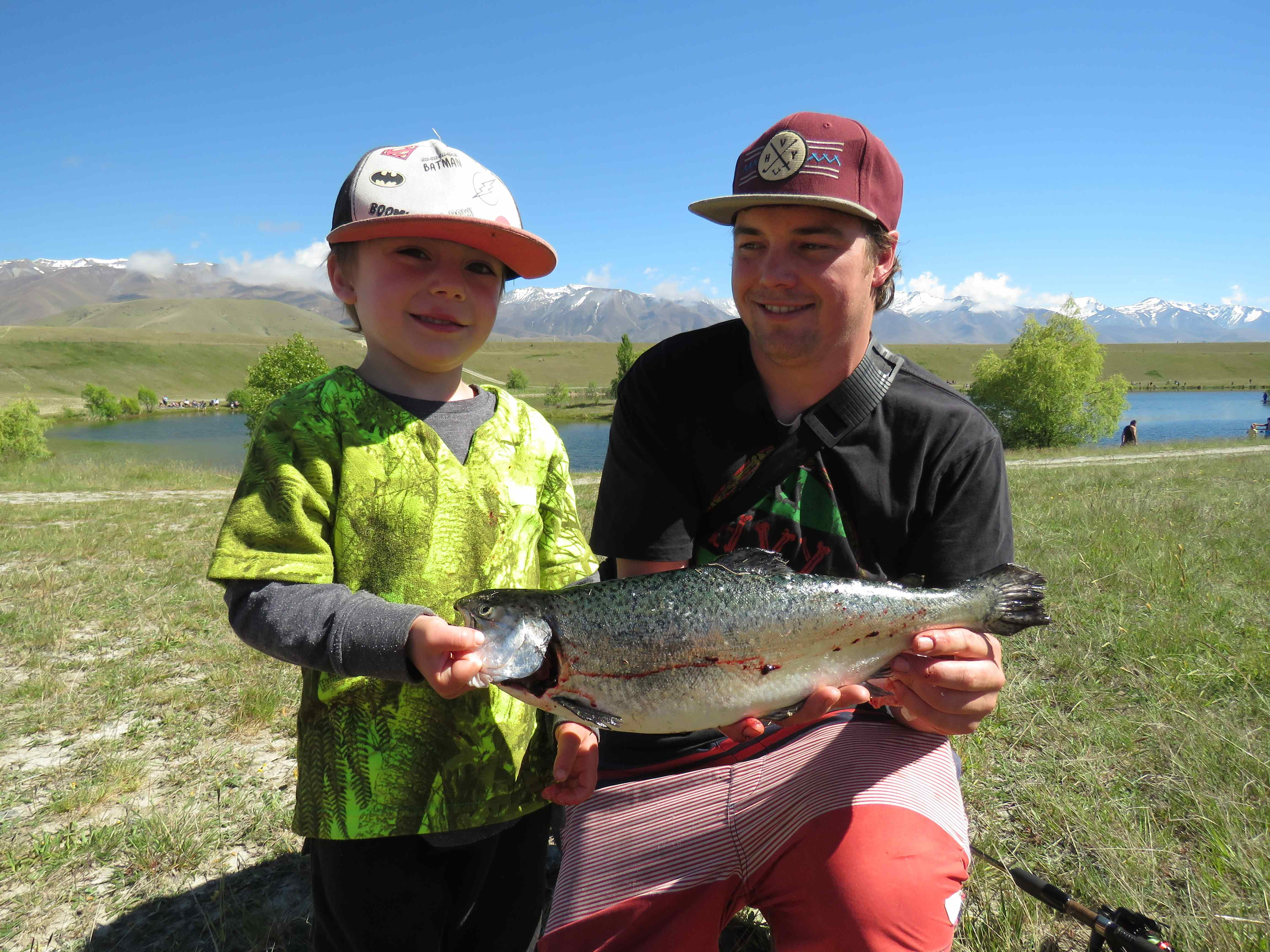 WFR1718.18Kolby Parrant and dad Tom at the Kids Salmon Fishing Day