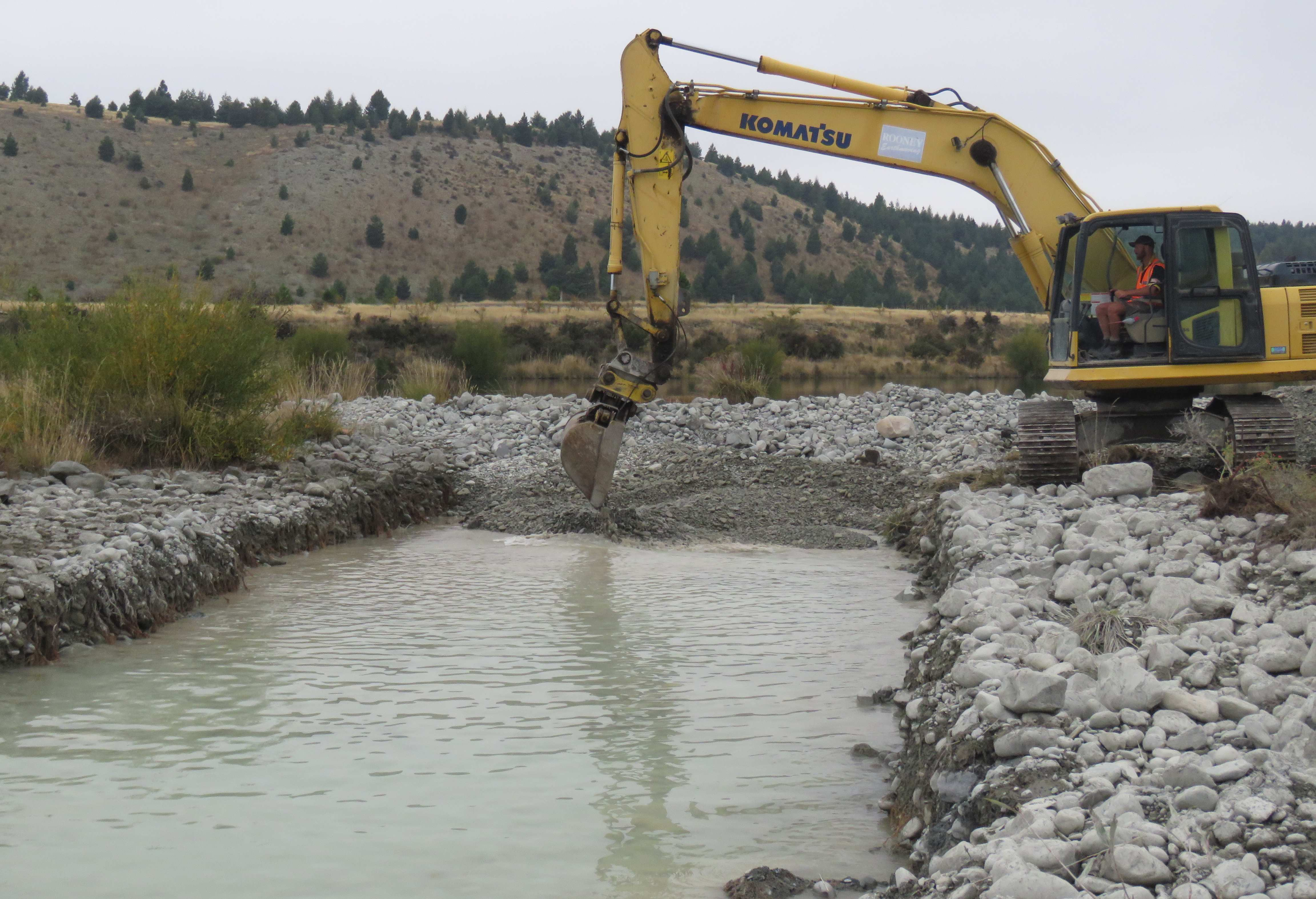 WFR1819.56The excavated channel gets filled with spawning gravel Credit Rhys Adams