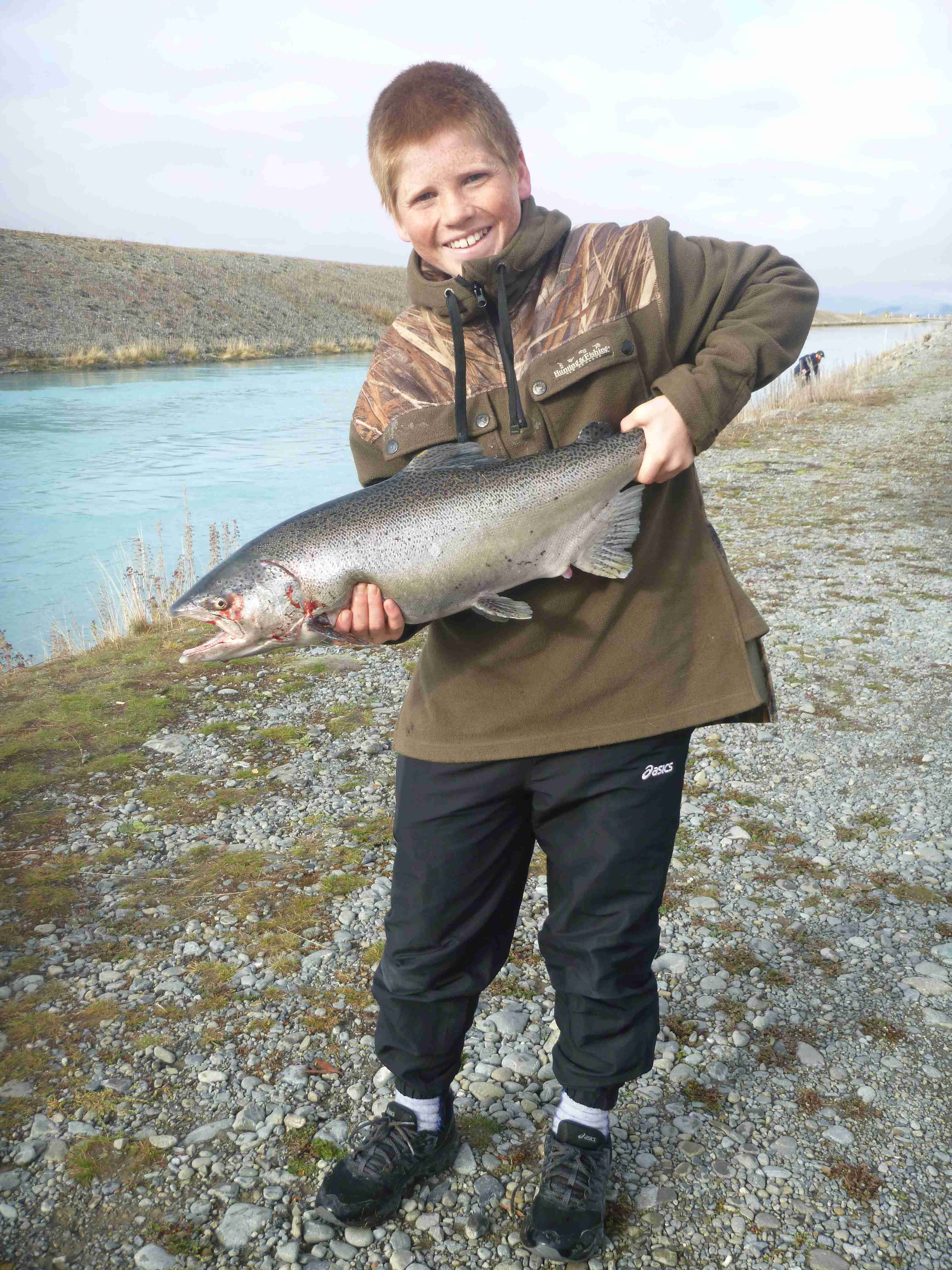 WFR1819.59 Will Pierce caught a 9lb salmon at the Tekapo Canal on Easter Weekend