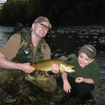 Any fish caught with the kids is a good one. 4lb Brown Jack on #14 Pheasant tail. Photo from Mike