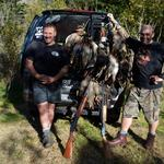 Whats special about this photo is that it's Sunday afternoon, My brother in law Rob Beard and I have shot our limit of ducks. But what makes this so special, is the fact that we decided to go Sub gauge this year, Thats right 410g. People said we must of been crazy or Quack shots. lol. It gave opening a whole new dimension, calling them right in and picking when to shoot. And maximizing our decoy spread Was unreal. Regards Skudz Photo from Aiden Skudder