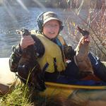 Harrison Kroos age 12, had to paddle out to retrieve his own ducks-no matter, happy hunter. Photo taken opening day, Inch Clutha Otago. Buy the way there is another photo of mine illustrated in other peoples brags under