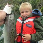 This is my Nephew - Archie (5 years old) whom caught this very nice Sea run trout in the Lower taieri River on Boxing day. Photo from Scott Weatherall