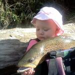 A big local brownie has quick photo with my 2 year old daughter before we released him back into the Hutt River. Photo from Aaron Houghton