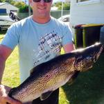 Boxing Day, Manapouri. 7 pound brown trout. Photo from Gareth