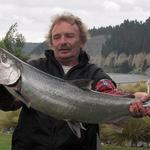 November 28 2013 Rumoured to be first salmon caught at Rakaia Gorge this season, and caught on a trout rod and lure. Photo from Tony Van Herp