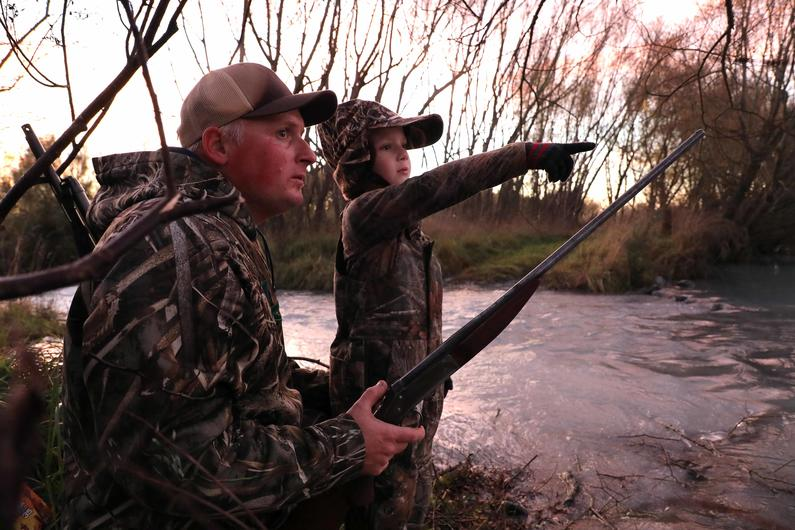 Duck season one Jarrad left and six year old son Leighton.