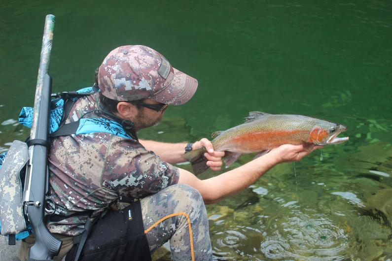 Early season backcountry rainbow for field officer Hamish Carnachan