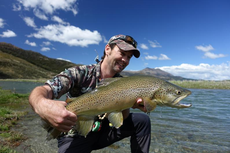 Hamish Carnachan with an upper Oreti River treasure.