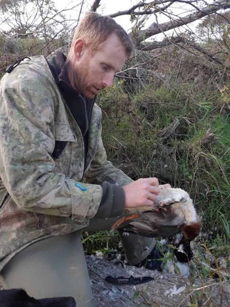 Happy hunter Mark Atkinson preps a bird from his successful morning hunt S