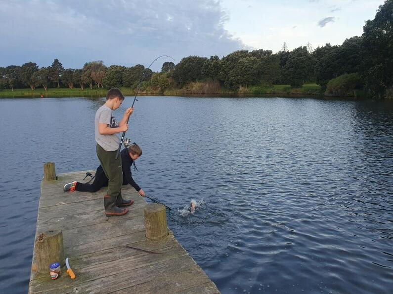TRL1Dec2020. Angling action at New Plymouths Lake Rotomanu