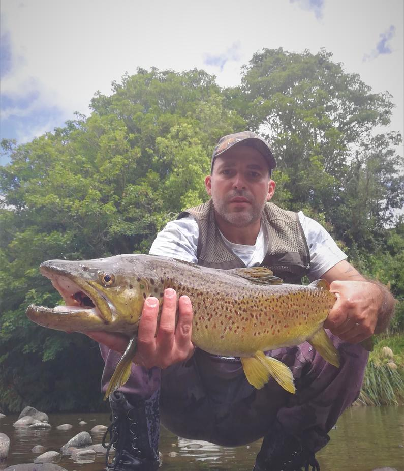TRL1Feb2020. Carlos Vale with a 72cm brown trout he caught spinning with a gold rapala.