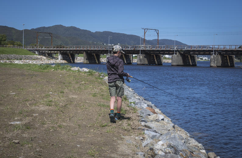 W2 Finn Harding chasing sea run trout in the lower reaches of the Hutt River Andrew Harding