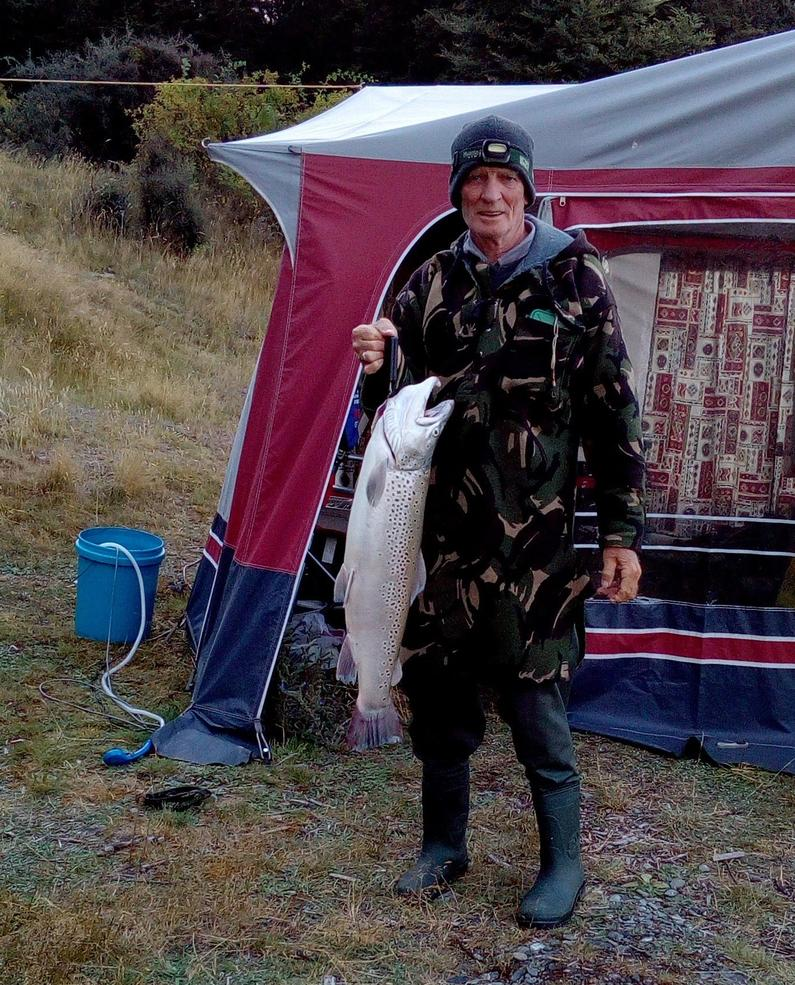 WFR1819.48 Roy Hughes and his 12 pound Lake Ohau brown trout Credit Jean Hughes