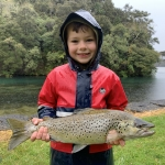 Cooper's first brown trout weighed in at 5lb and was 52cm long. The very last cast on a wet and cold morning at Lake Whakamarino before we were heading home. He kept a very cool head and played it nicely into the net. Was caught on a Parsons Glory