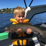 My first fishing trip! 2-1/2lb rainbow trout on poppa's boat on Lake Rotorua